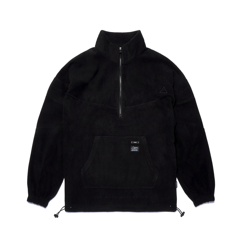 STIGMA TRIANGLE FLEECE OVERSIZED ANORAK JACKET BLACK