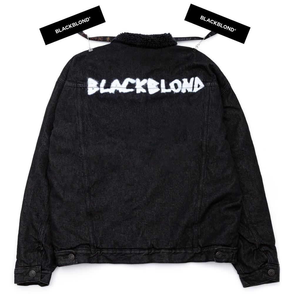 BBD Shearling Collar Graffiti Logo Denim Jacket (Black)