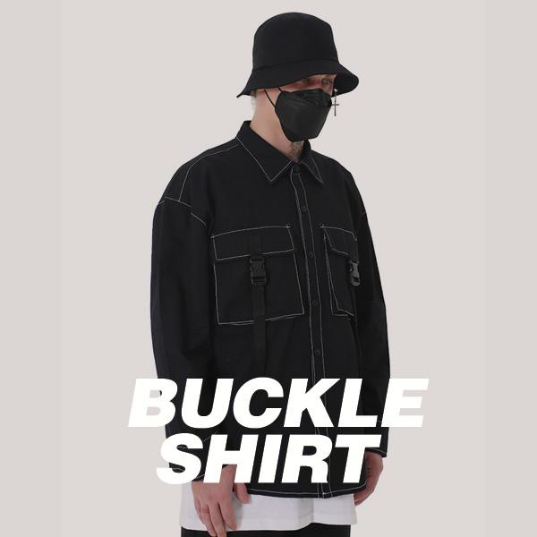 [단독벨트증정] ROCKPSYCHO 2019 FW Buckle Cargo Shirt / 락사이코 2019FW 버클카고 셔츠
