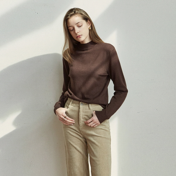 STAND HALF LONG KNIT_BROWN