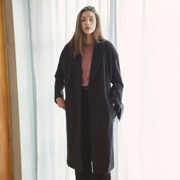 OVER DROP SINGLE LONG COAT_BLACK