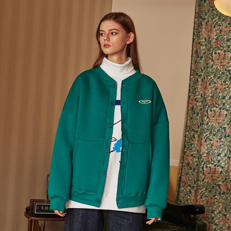 [unisex] fleece cardigan (green)