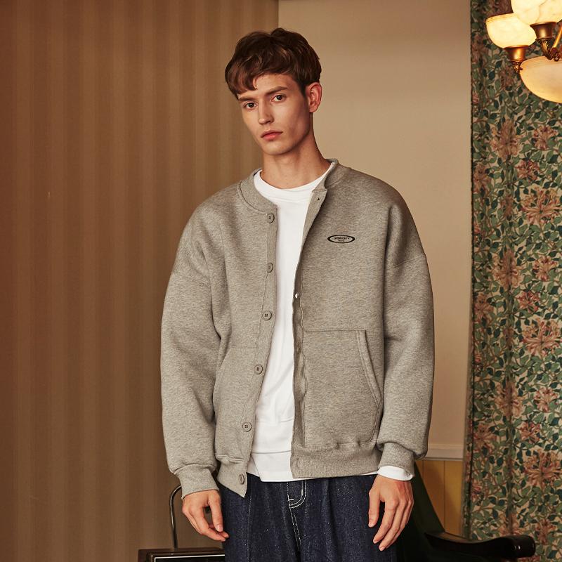 [unisex] fleece cardigan (grey)