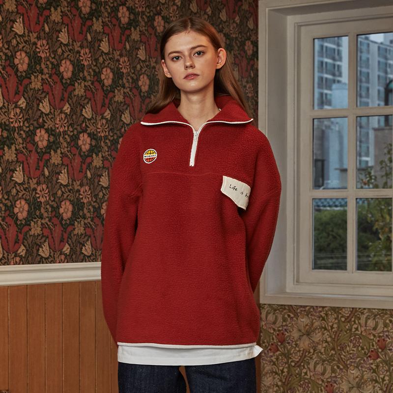 [단독][unisex] fleece pola (dark red)
