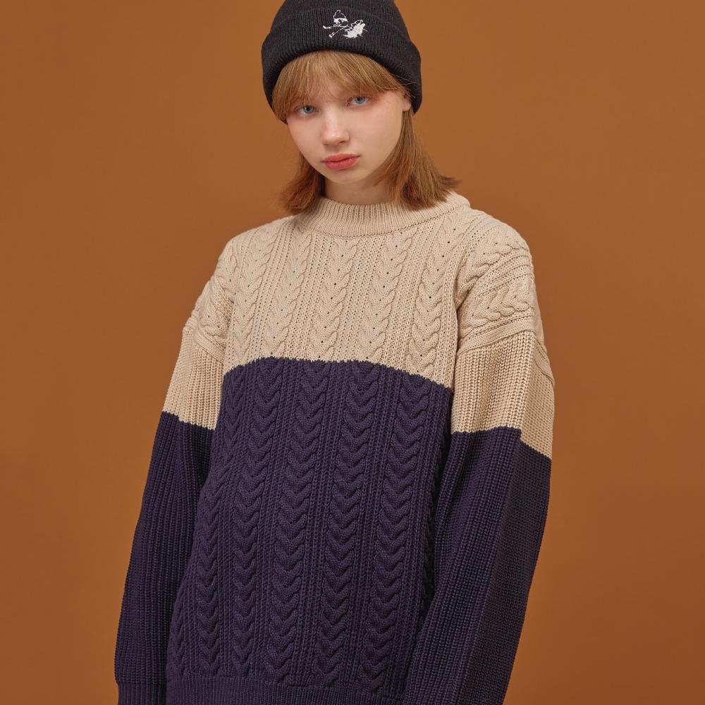 램스울 꽈배기 배색 케이블 스웨터