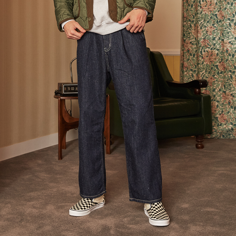 [unisex] pintuck denim pants