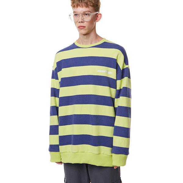 [입점특가]Unisex Striped Sweatshirt LIME