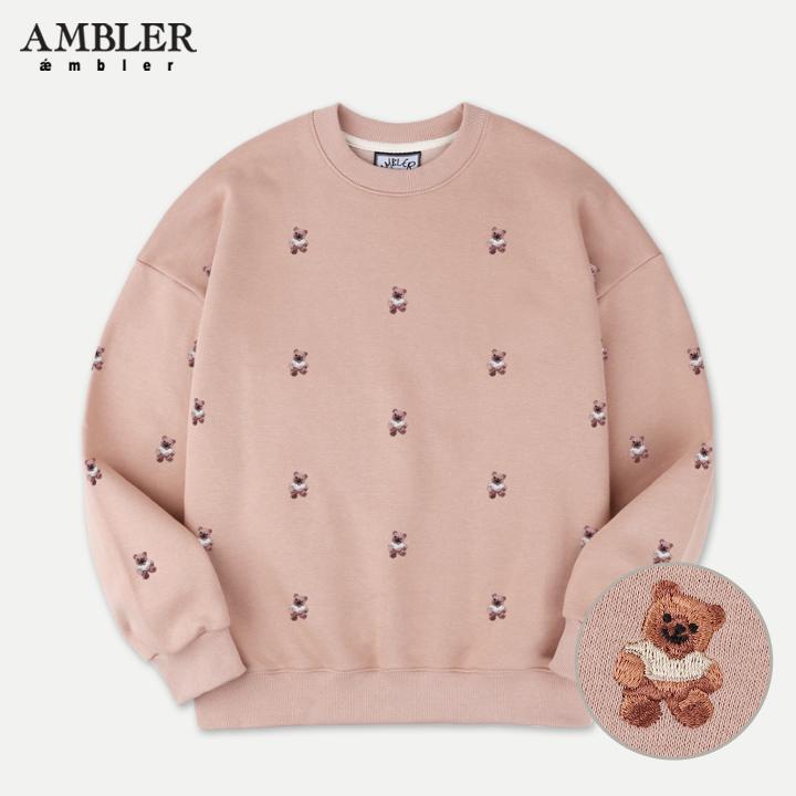 [엠블러]AMBLER 19FW 신상 자수 오버핏 맨투맨 티셔츠 AMM724-베이지 기모