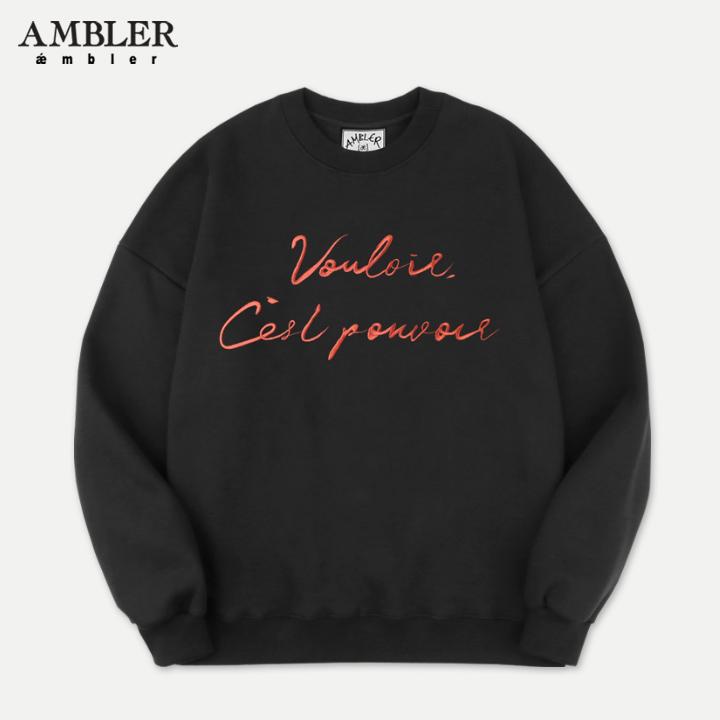 [엠블러]AMBLER 19FW 신상 자수 오버핏 맨투맨 티셔츠 AMM725-블랙 기모