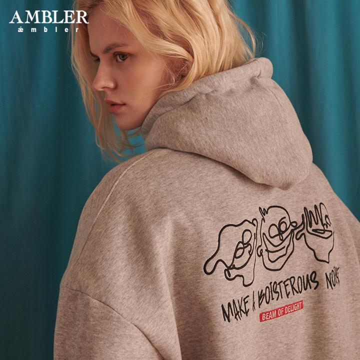 [엠블러]AMBLER 신상 자수 오버핏 후드티 AHP614-멜란지 기모