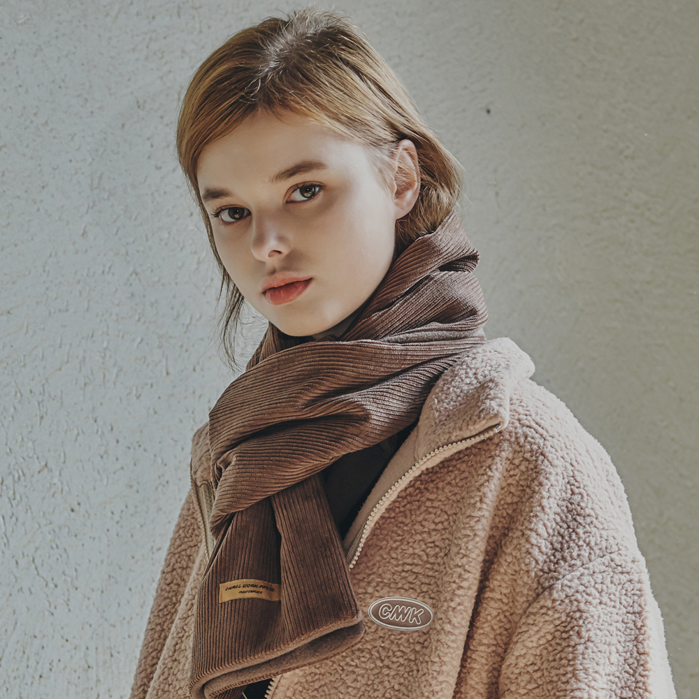 Corduroy Fleece Muffler(Brown)