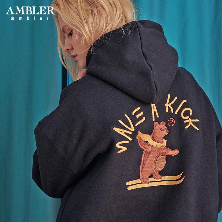 [엠블러]AMBLER 신상 자수 오버핏 후드티 AHP613-네이비 기모
