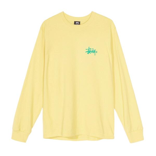 스투시 우먼스 베이직 로고 롱슬리브 티셔츠 레몬