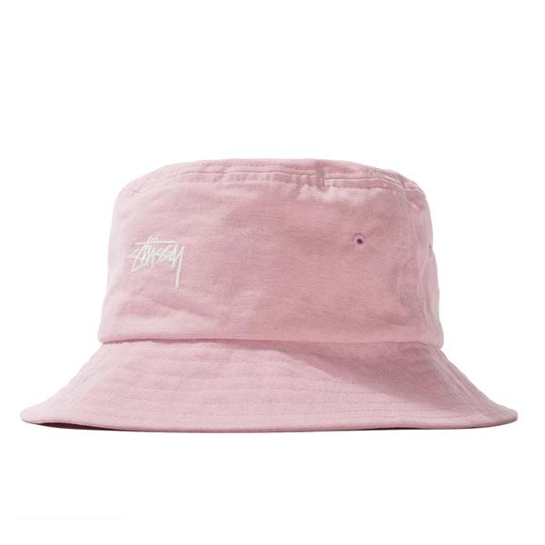 스투시 스톡 캔버스 버킷햇 핑크