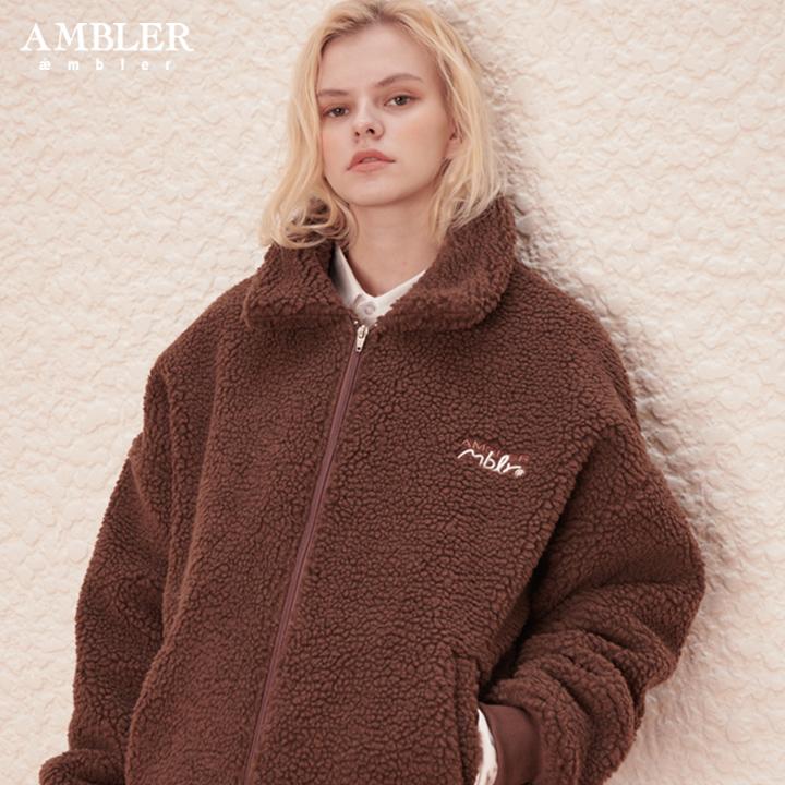 [단독할인][엠블러]AMBLER 신상 자수 오버핏 양털 집업 AYJ101-브라운