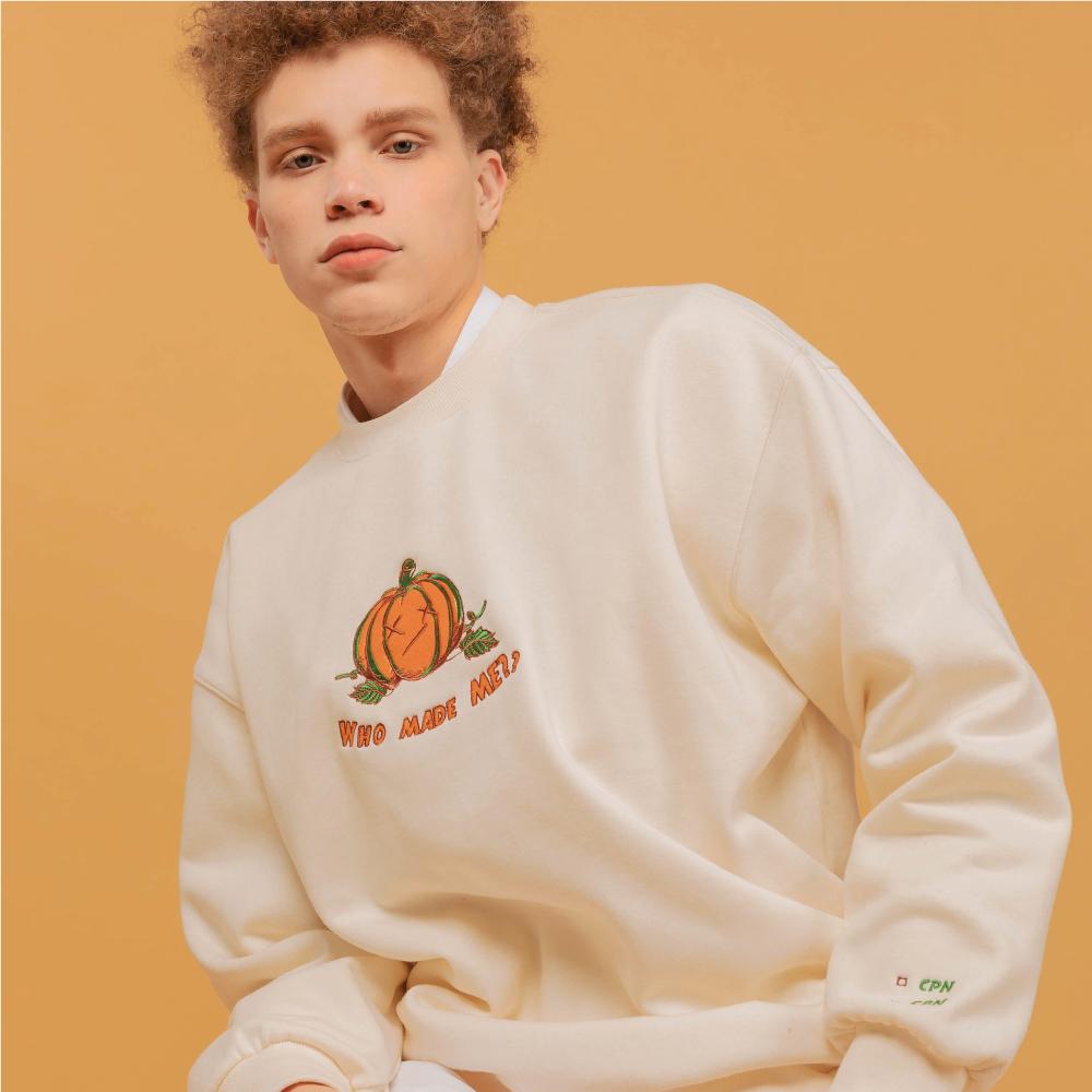 [기모] x_x Pumpkin 자수 MTM 크림
