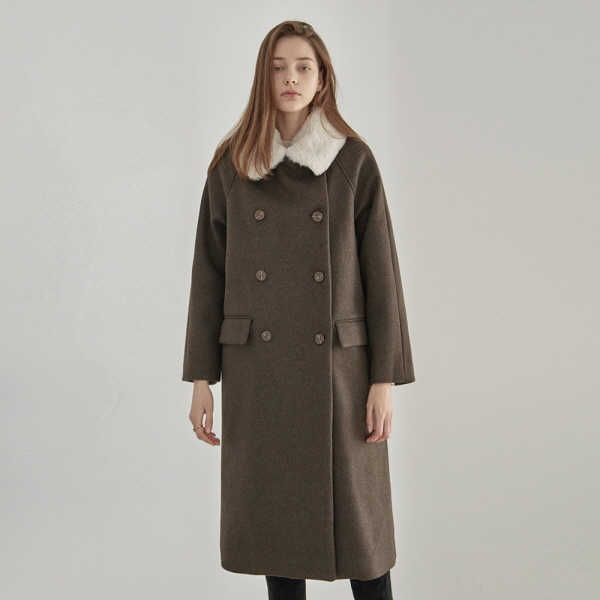 [12/13] FUR DOUBLE LONG PEACOAT_BROWN