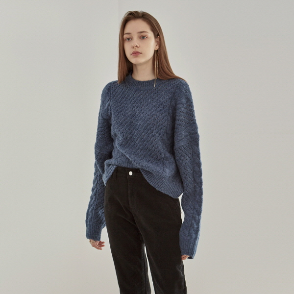 CROP CABLE SWEATER_DEEP BLUE