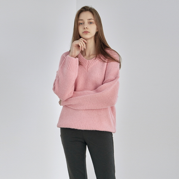 DEEP V WARM SWEATER_PINK