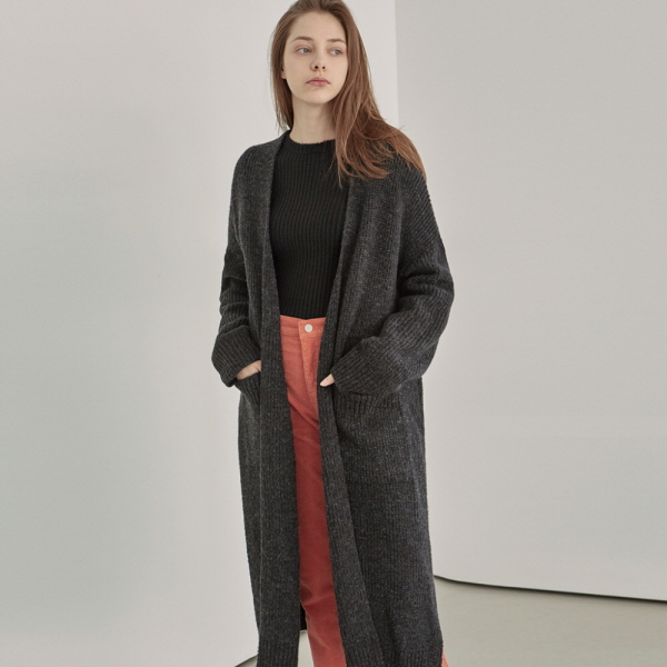 OVER LONG KNIT CARDIGAN_CHARCOAL