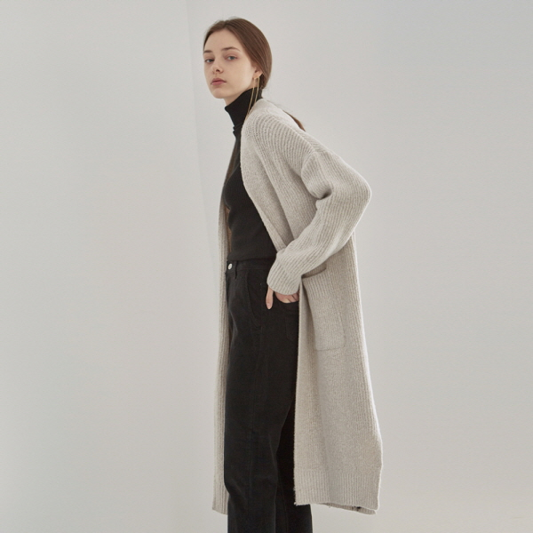 OVER LONG KNIT CARDIGAN_IVORY