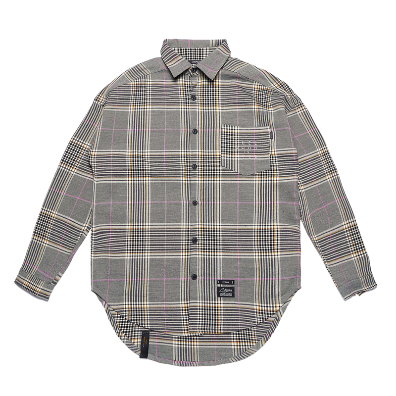 STIGMA GL OVERSIZED CHECK SHIRTS PINK GRAY