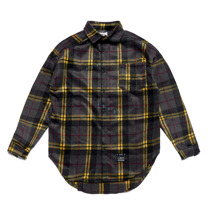 STIGMA TIGER OVERSIZED CHECK SHIRTS GREY