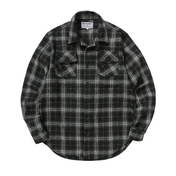 [한정수량]뉴해빗 - 오버핏 헤비 플란넬 체크셔츠 - 블랙