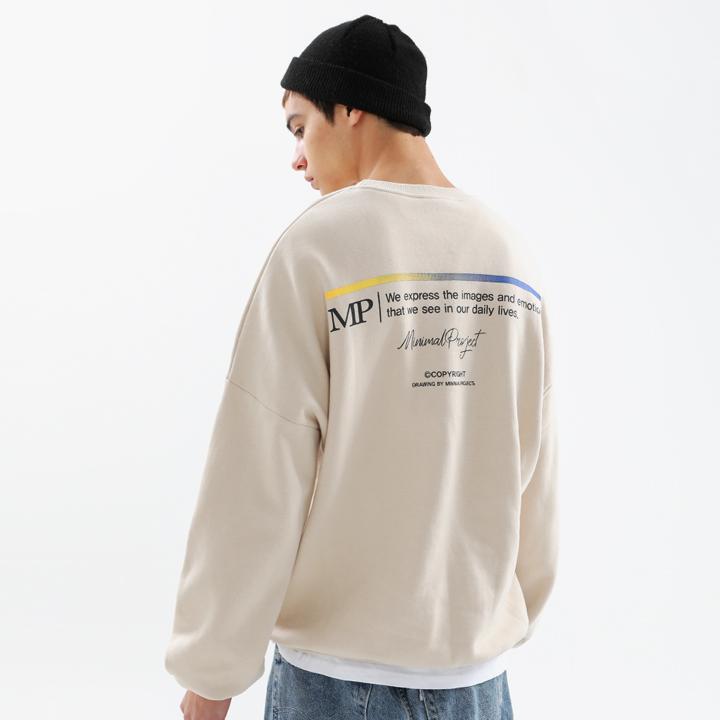 [minimal project] 미니멀프로젝트 그라데이션 스틱 오버핏 맨투맨 MMT109 [CREAMBEIGE]