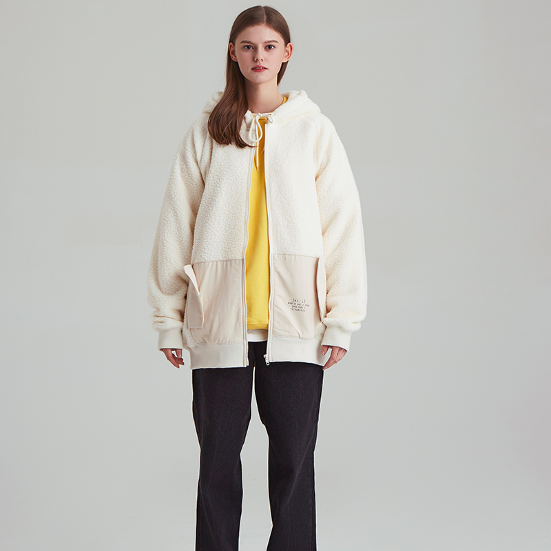 [unisex] both side-fleece zip-up hoody (ivory)