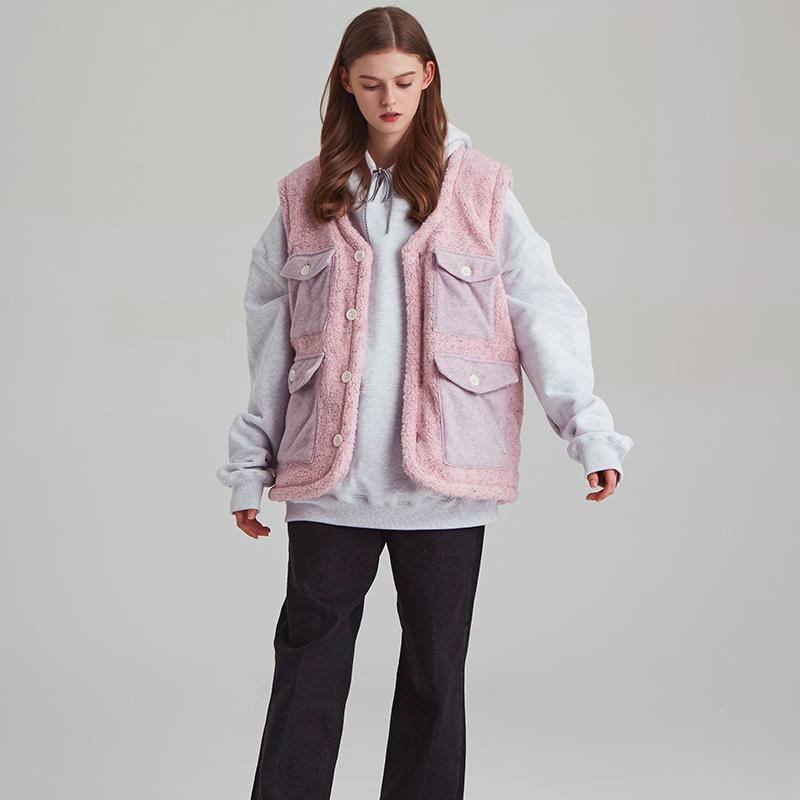 [unisex] fleece 4 poket-vest (bokashi-pink)