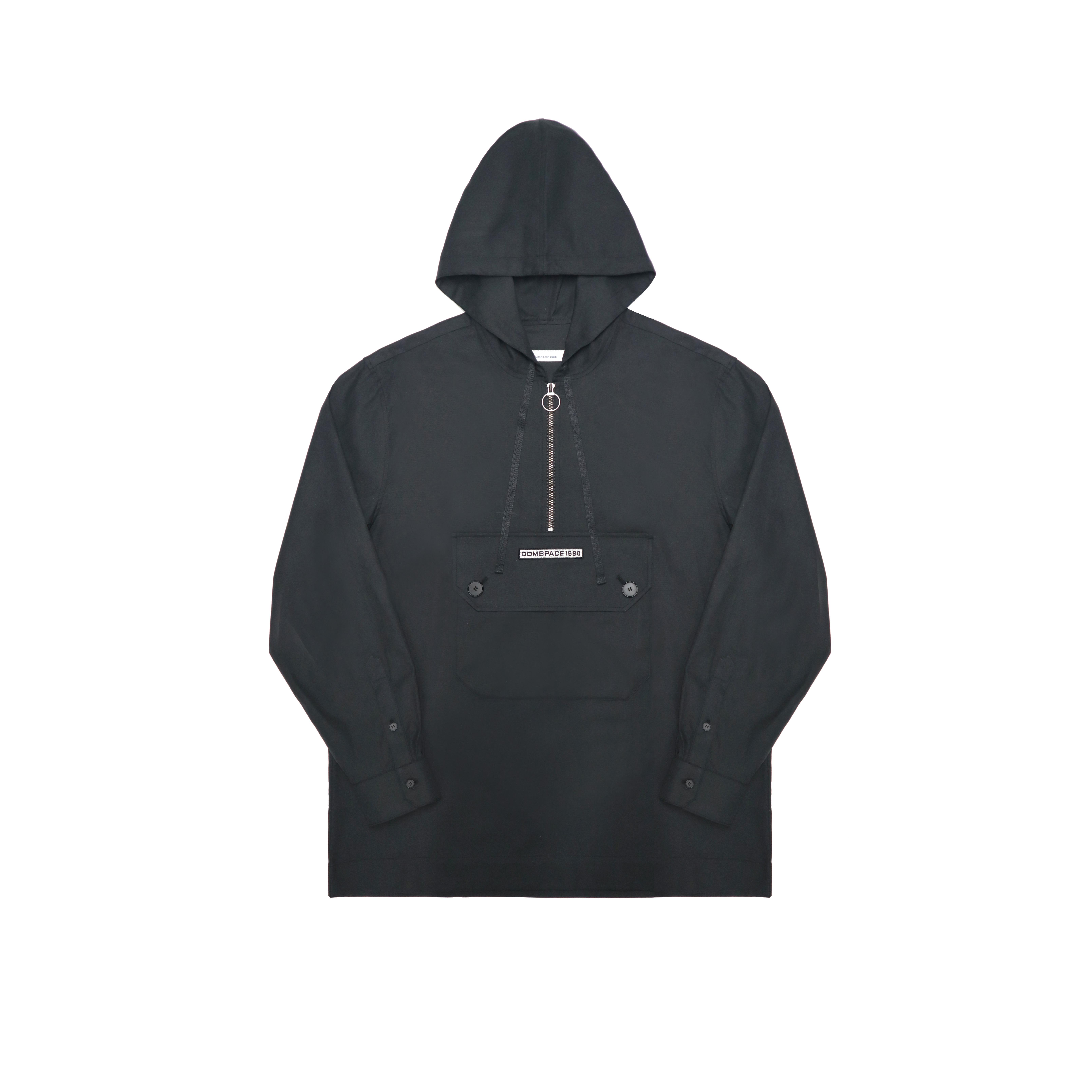 캥거루 포켓 후드 셔츠 블랙