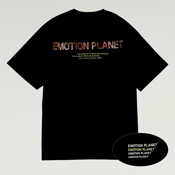 워터컬러 포토 프린트 티셔츠 BLACK