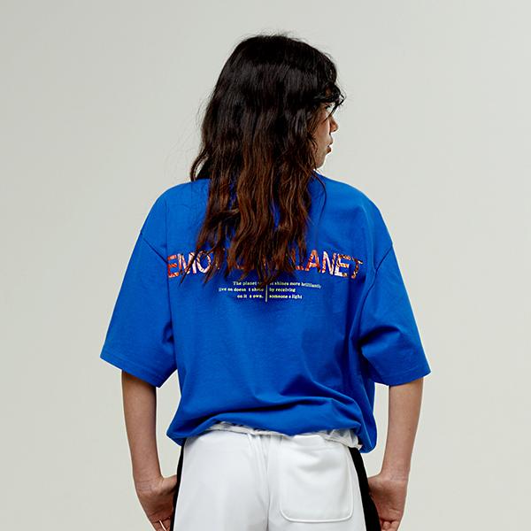 워터컬러 포토 프린트 티셔츠 BLUE