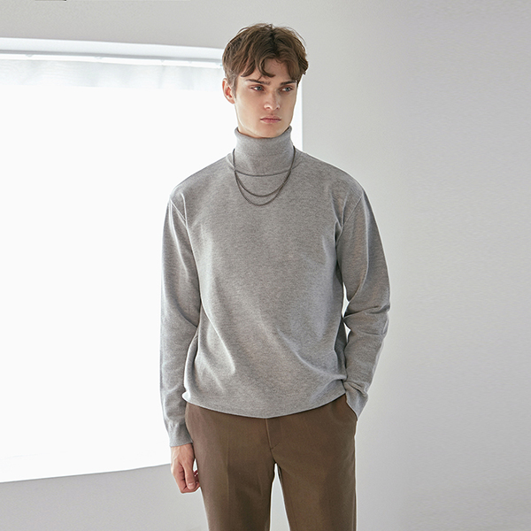 DOUBLE TURTLE LONG KNIT_GRAY