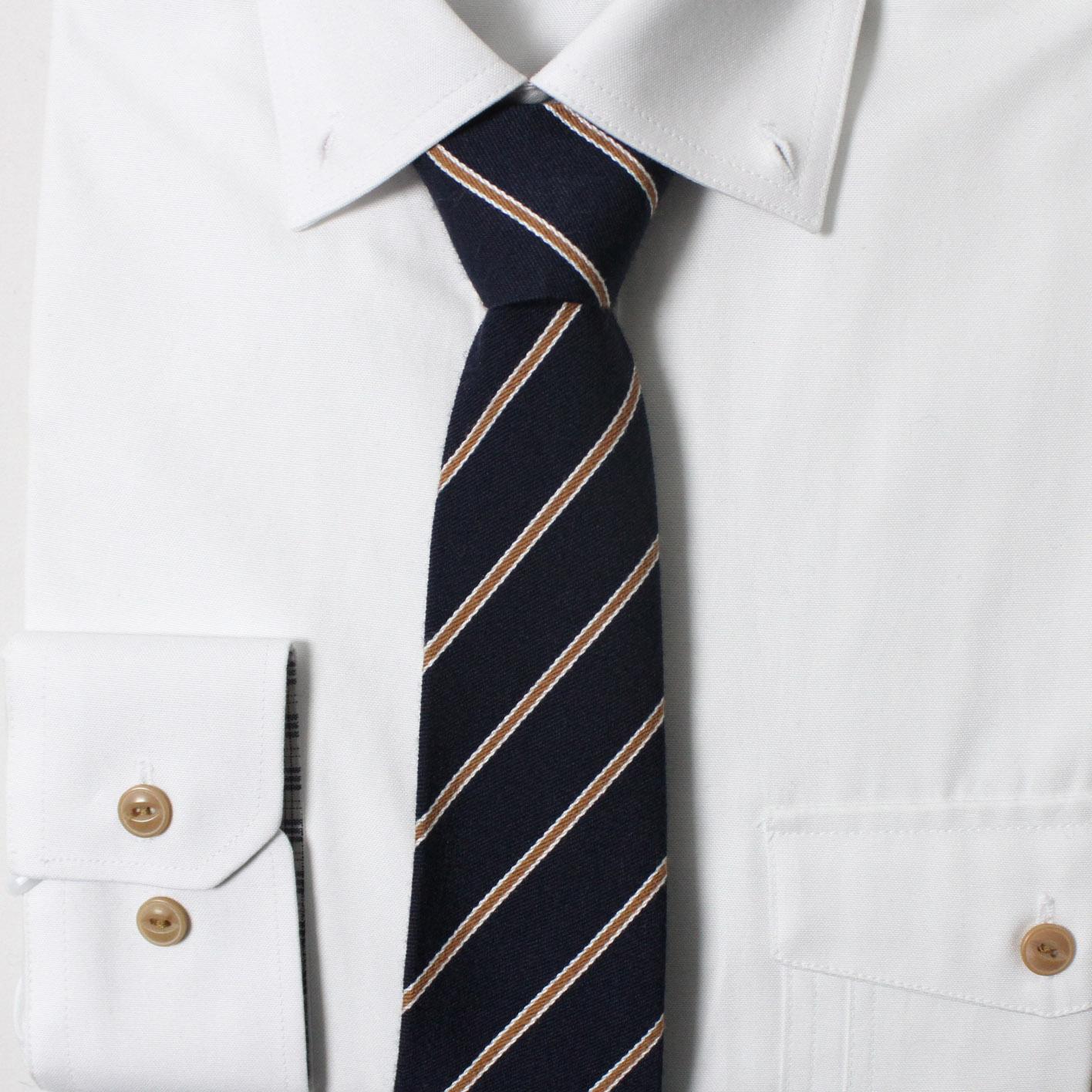 남자 자동 면접 넥타이 (사선 네이비)