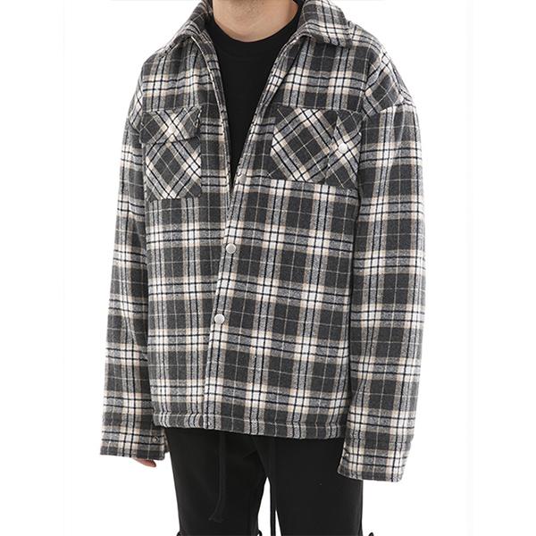 [4온스]언발란스 패딩 셔츠자켓