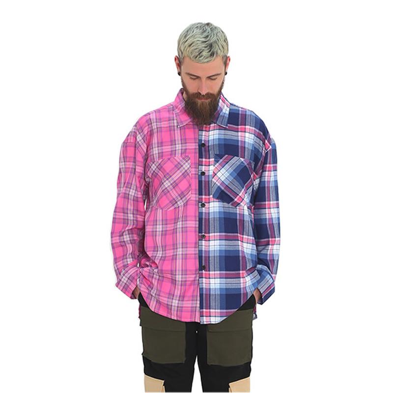 [단독벨트증정] ROCKPSYCHO(V) Half check shirt / 락사이코(V) 오버핏 반반체크셔츠