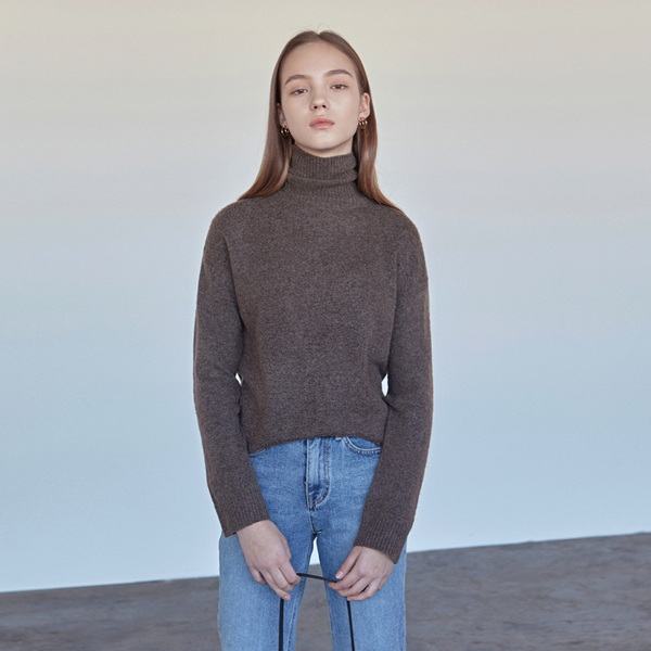 CASHMERE TURTLENECK KNIT_COCOA