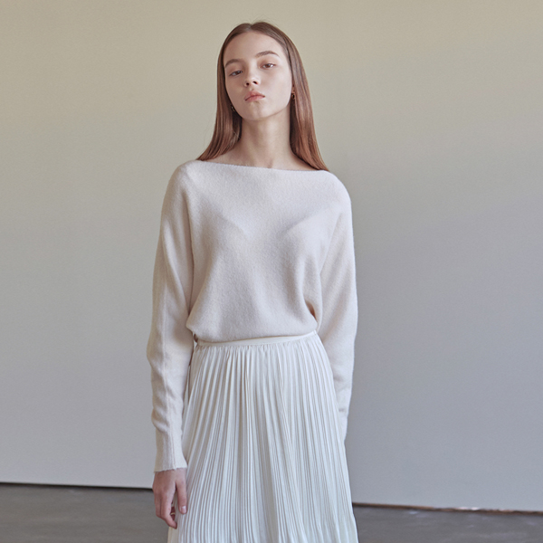 MELLOW BOAT NECK KNIT_IVORY
