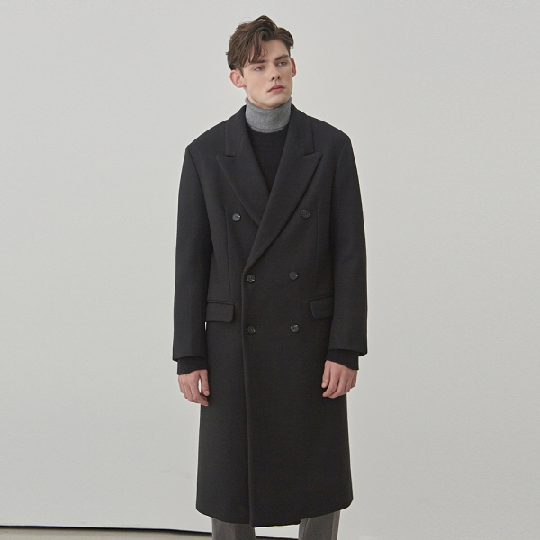 MELT WOOL DOUBLE LONG COAT_BLACK