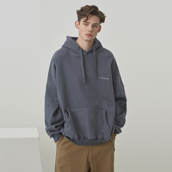 LOGO LETTERING OVER HOODIE_CHARCOAL