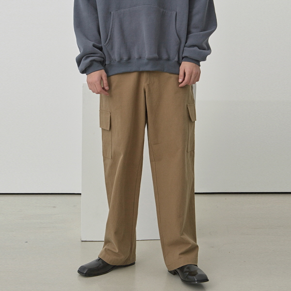 ULTRA WIDE CARGO COTTON PANTS_KHAKI BEIGE