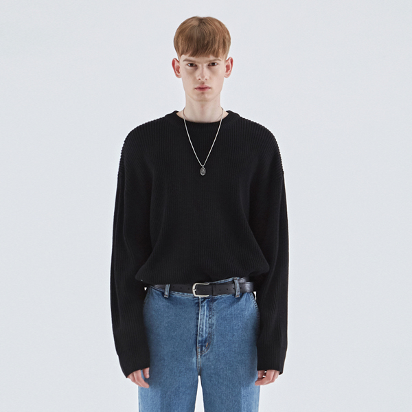 HEAVY OVERFIT ROUND KNIT_BLACK