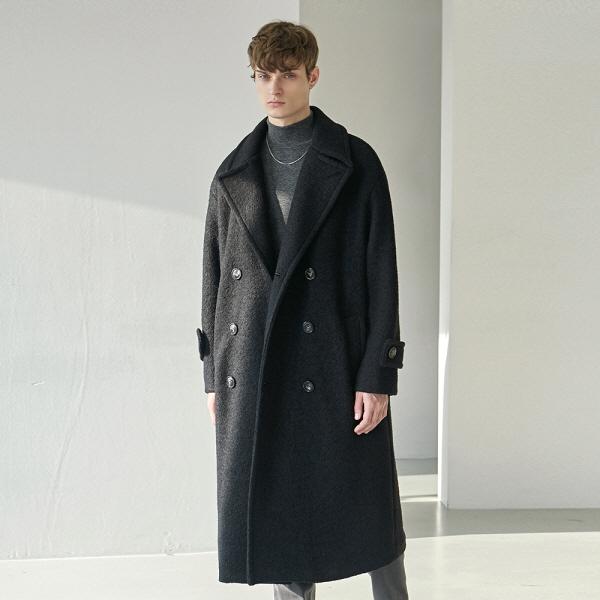 TERRY WOOL DOUBLE LONG COAT_BLACK