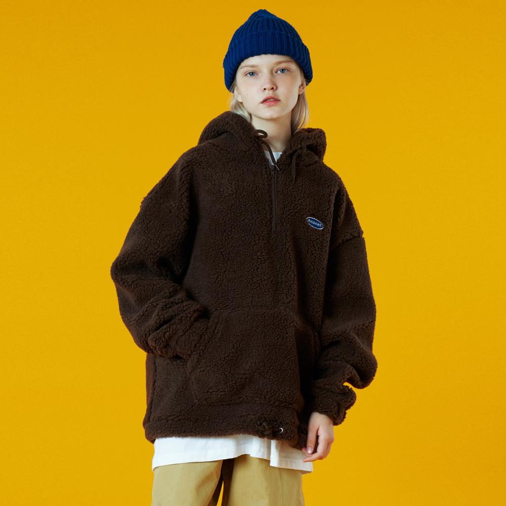 [N]Original small logo fleece anorak-brown