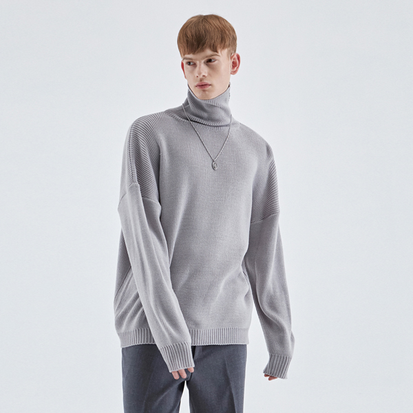 TURTLENECK LONG SLEEVE KNIT_GRAY