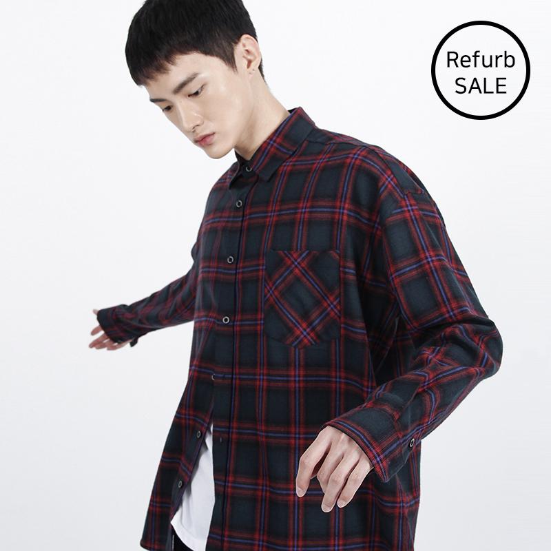 [리퍼브데이] Over-fit Green Omber Check-Shirt
