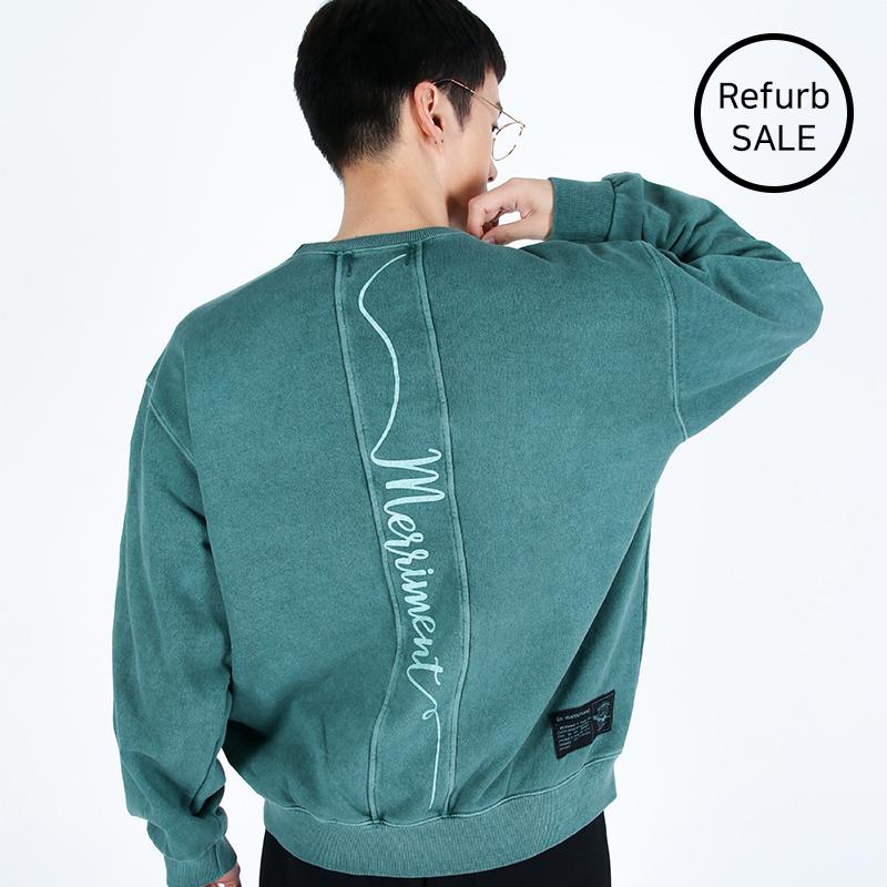 [리퍼브데이] Lettering Section Pigment Sweatshirt (GREEN)