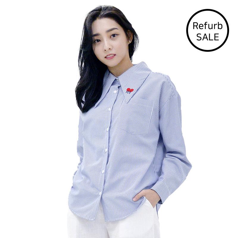 [리퍼브데이] Lovely M Stripe Long-collar Shirts (BLUE)